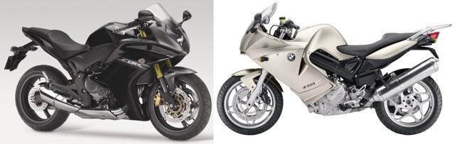 画像: (左)HONDA CBR600F(右)BMW F800FT/©モーターマガジン社