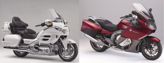 画像: (左)HONDA GOLDWING(右)BMW K1600GTL/©モーターマガジン社
