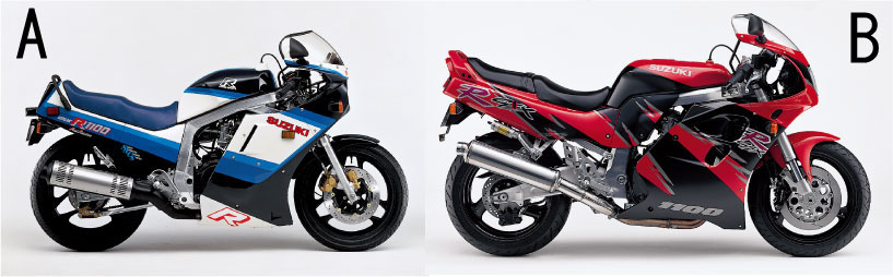 画像: 左:GSX-R1100 右: GSX-R1100 (Bikers Station@モーターマガジン社) www.motormagazine.co.jp