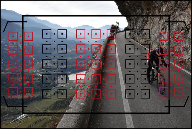 画像: ファインダーを覗いて、これだけ測距点(ピントが合うポイント)が広いカメラは現状ではD500が一番です。