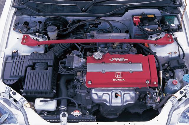 画像: 自然吸気エンジンとしては世界最高レベルのリッター当たり116psの高出力を達成したB16B型エンジン。パフォーマンスロッドも標準装備。 www.motormagazine.co.jp