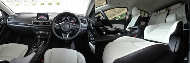 """画像: 1.5Lディーゼル車の最上級グレード """"L Package"""" のインテリア。情報の入手、操作などの子やすさを追求してデザインされたコクピット(左)とパーフォレーションレザー(ピュアホワイト)のシート(右)。"""