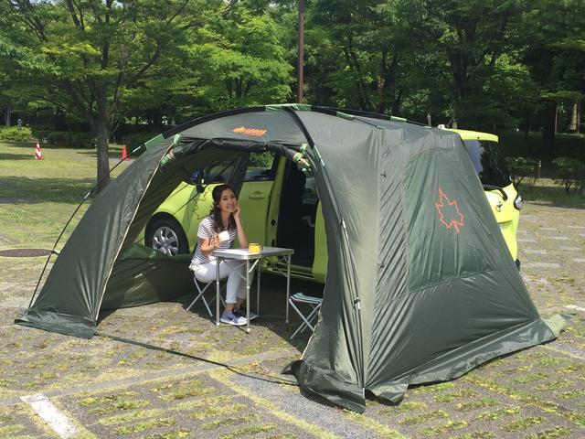 画像: クルマにセットするテントなどを使えば、車中泊はもっと楽しくなる。