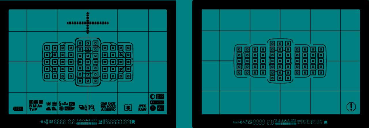 画像: 左がEOS 5D MarkⅣで右が従来機のEOS 5D MarkⅢのファインダー情報。キヤノン・デジタル一眼レフのハイエンドモデルEOS-1D X MarkⅡのAFシステムを搭載し、測距エリアをさらに縦方向にワイド化した。AF測距点は従来と同じ61点でも、測距エリアの拡大だけでなく、低輝度側の測距輝度範囲の拡大(暗い撮影状況でのピント精度の向上) 、全点F8(絞り値)AF対応など、飛躍的に進化している。電子水準器の表示や撮影設定情報表示などのカスタマイズも充実している。