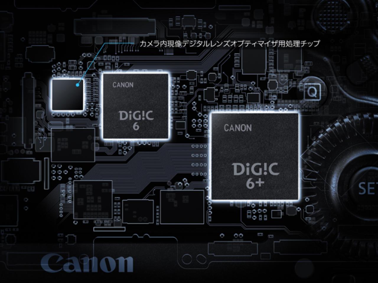画像: カメラの頭脳ともいえる画像処理エンジンにはキヤノンのハイエンド機EOS-1D X MarkⅡと同じ「DIGIC6+(プラス)」を採用。高ISO感度を実現し、高感度時の色ノイズを低減するとともに、画像処理能力や回折補正、カメラ内RAW現像などにも対応できるようになった。