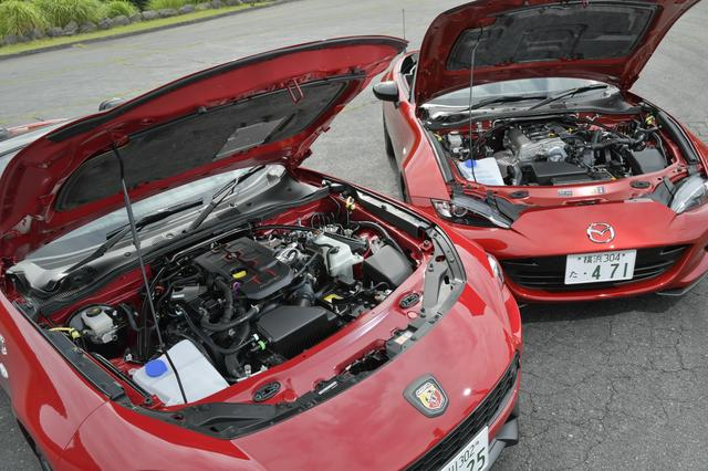 画像: エンジン出力は124スパイダーが170ps/240Nm、ロードスターが131ps/150Nmと約40ps/100Nmも違っている。