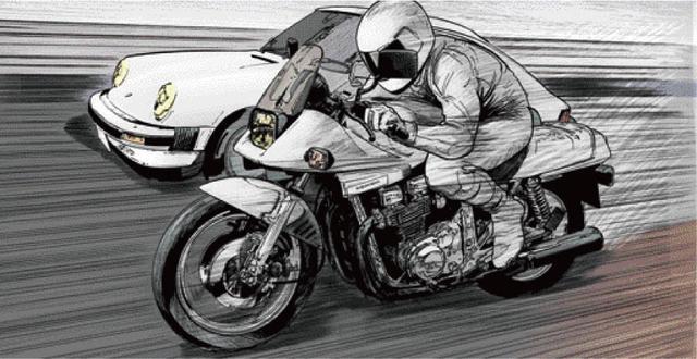 画像: 向こう側にいるか、こっち側にいるのか。 東本昌平先生が贈る、男たちの憧れ『キリン』の世界 ~「キリン」を彩る名車たち:SUZUKI GSX1100S KATANA~ - LAWRENCE - Motorcycle x Cars + α = Your Life.