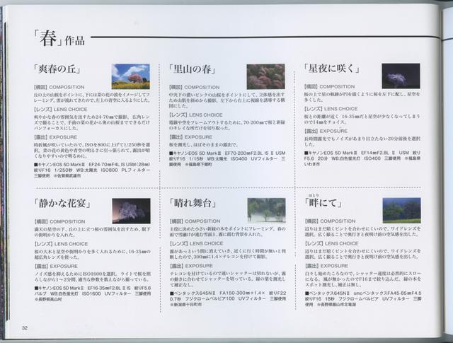 画像: このように撮影データ、撮影場所などの情報も充実しています。 「日本の自然美を撮る 米美知子 傑作選-季節の贈り物-」より引用