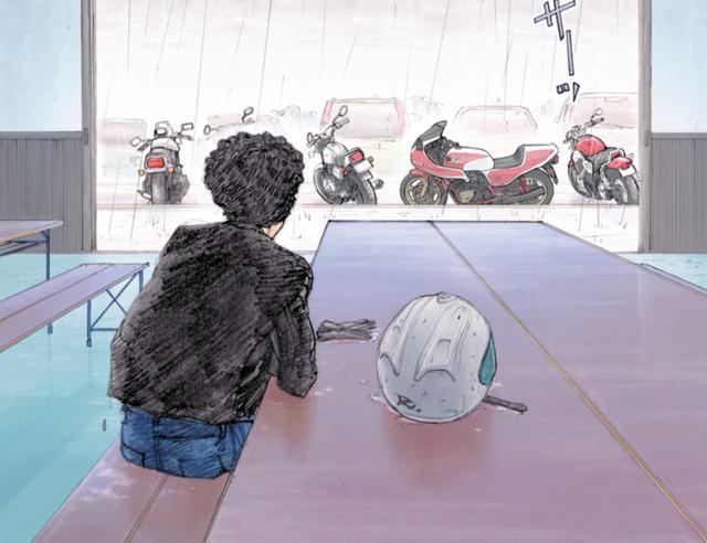 画像: 雨に濡れるバイク達を眺めがら、引き返そうかどうか悩む男。 ©東本昌平先生/モーターマガジン社