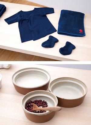 画像: 本藍染の出産祝いセット(上)と、こぼしにくい器(下)は和えるを代表する人気商品となっている