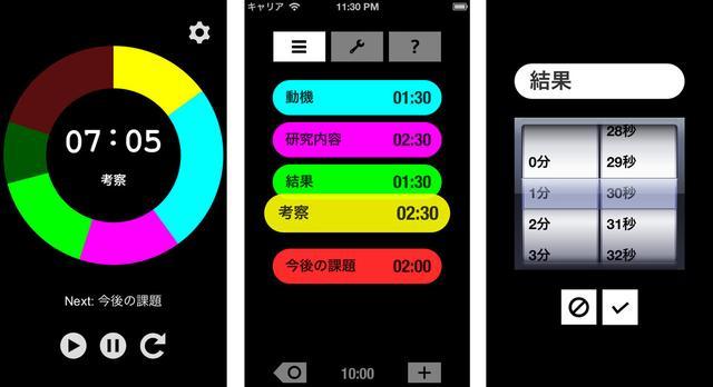 画像: 「見えるプレゼンタイマー」の画面例。動機・研究内容・結果・考察・今後の課題を、それぞれ何分かけて話すのか設定すると、色分けされたタイマーで時間を測れるようになる