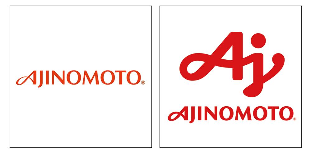 画像: 左側がリニューアル前のコーポレートブランドロゴ。右側が2017年10月から使用されている味の素グループグローバルブランドロゴ。