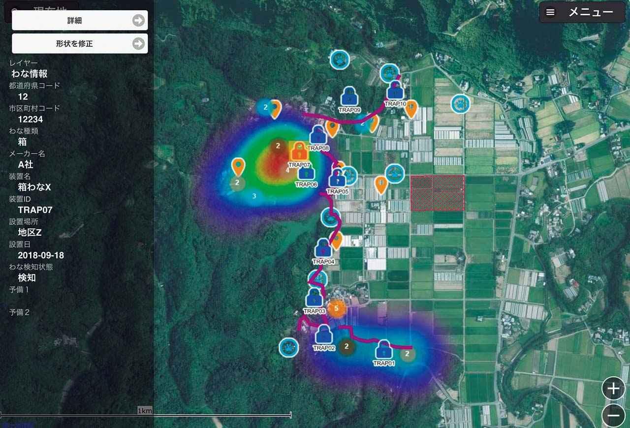 画像: 日立で開発中のクラウドサービス 「鳥獣害対策支援サービス」のイメージ図
