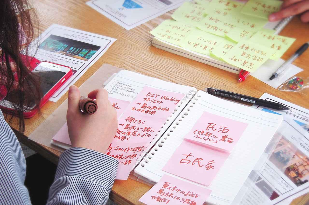 画像: 1人1枚選んだ協創事例の要素をインターネットで調べ、ポストイットに書き出していく。写真のピンクのポストイットは「おぢかアイランドツーリズム」の要素。