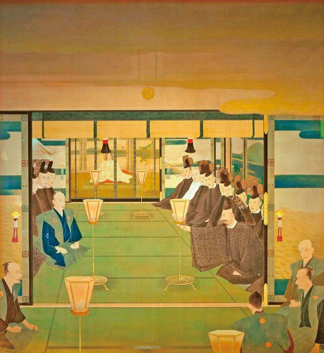 画像: 島田墨仙画「王政復古」には、奥に明治天皇、山内豊信(中央左)と岩倉具視(右)、大久保利通(右下背)が描かれている。聖徳記念絵画館所蔵