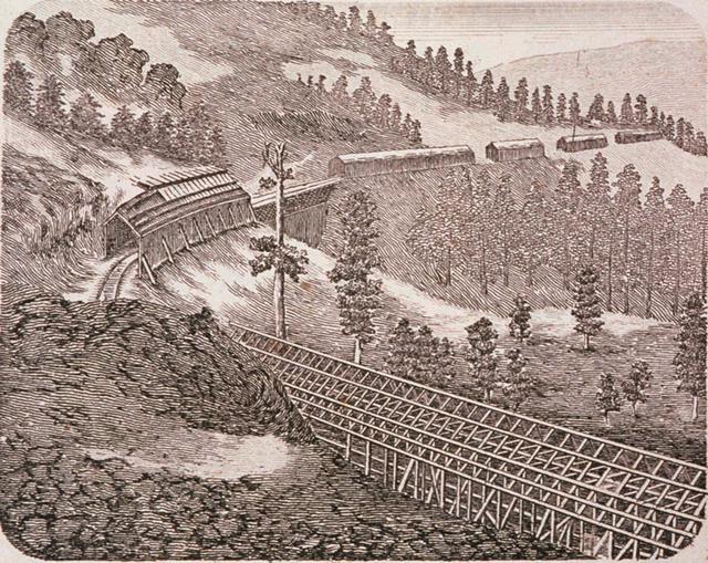 画像: シエラネバダ山脈の鉄道の雪覆い(米国)