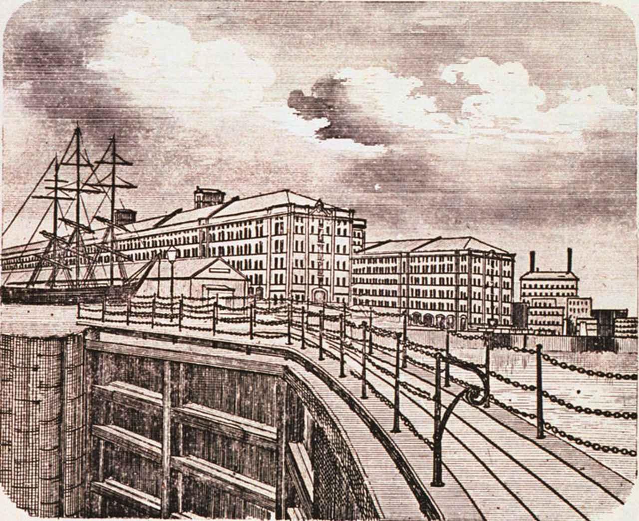 画像: リバプールのドックゲートと穀物倉庫。