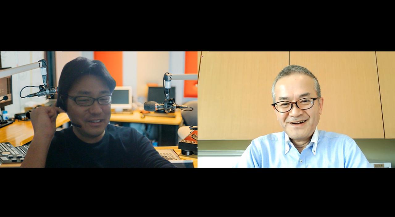 画像: 社内限定のオンライン番組「Good Morning Sunrise!」では、Team Sunriseゆかりのキーパーソンを招き、佐藤(左)自らインタビューを行っている。右は日立製作所 サステナビリティ推進本部の増田典生。