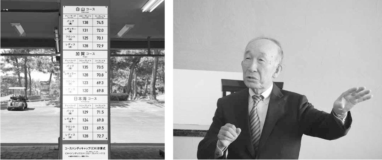 画像: 左:キャディーマスター室前の柱に掲示されている各コースのスロープレーティング。 右:「我々が先頭を切ることで普及にも貢献できる」と話す小杉ハンディキャップ委員長。
