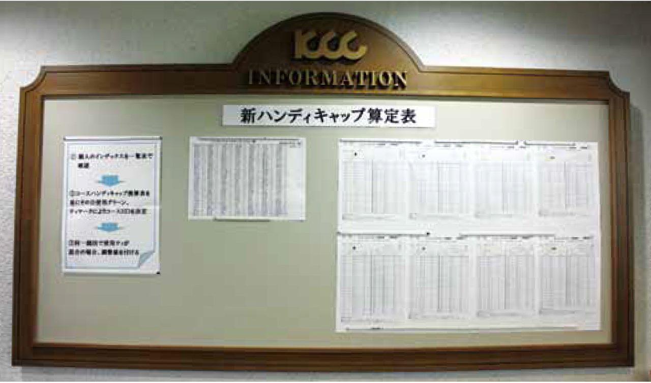 画像: 賀茂CCクラブハウス内に掲示されているJGA発行のコースハンディキャップ換算表。スロープシステムなら大人数の男女混合競技で、しかも男女が別々のティーからプレーした場合でもそれぞれのプレーヤーに適正なHDCPを用いることができる。