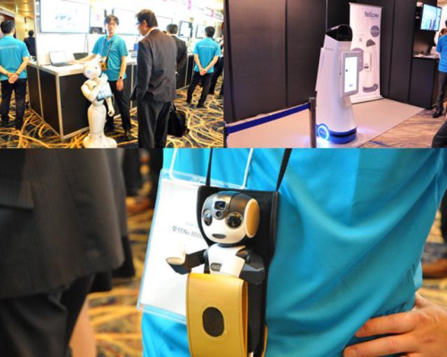 画像: 左上はpepper。右上は米Fellow Robots社の自律移動型サービスロボットNAVII™(ナビー)。ヤマダ電機様テックランド青葉店 に、日本ユニシスが実証実験の一環で導入しています。下は担当者個人のロボフォン。