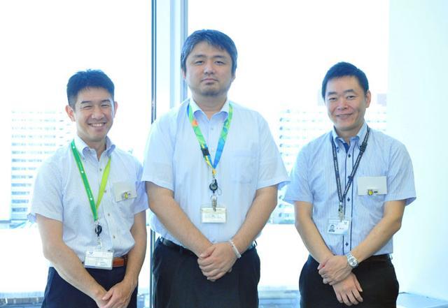 画像: 左から、ユニアデックスの池田、吉本、椿。IoTエコシステムラボとIoTスタートキットを担当してます。