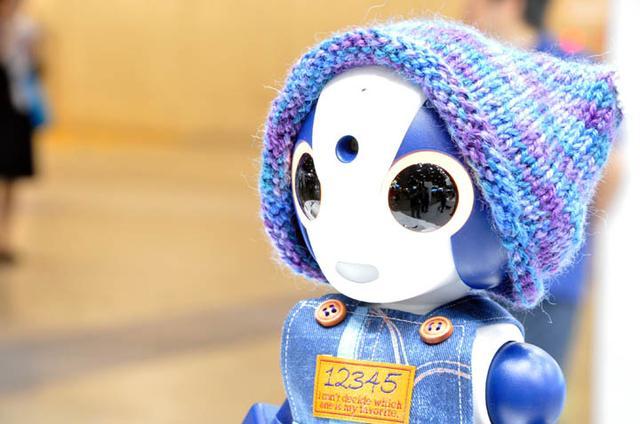 画像: 今年もロボット‐AIコーナーにSotaを出展。コミュニケーションロボットの応用を提案した。帽子は担当者の家族が制作したもの。3日間日替わりで着替えていた。