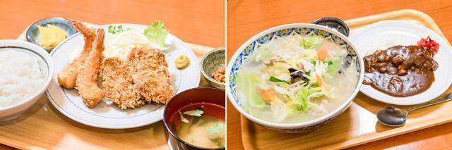 画像: (左)人気のエビフライはうすめの衣の中に身がぎゅっと詰まって食べ応えあり。マグロのフライとセットに。(右)しゃきしゃき野菜がたっぷりのったタンメン+ミニカレーはベストマッチ。