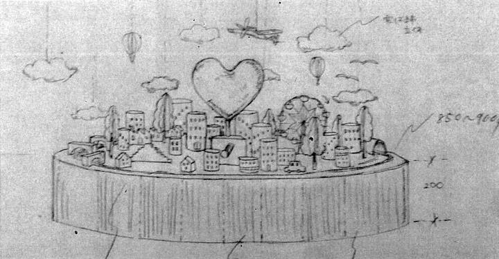 画像: 初期の手書きの全体イメージ。この時点ではタワーがない。都会らしい象徴が欲しくて後でリクエストした。