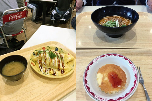 画像: つかの間のなつかしい学食体験。左は、日替わりガッツリ系メニューの「オムそば!」。 多くの学生が食べてました(笑)