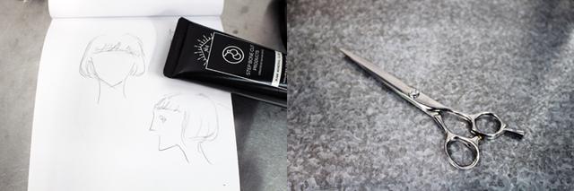 画像: ヘアデザインのイメージイラスト(ミキティの髪デザインイメージ)とハサミ(すきバサミを使わず、基本はこれ1本)