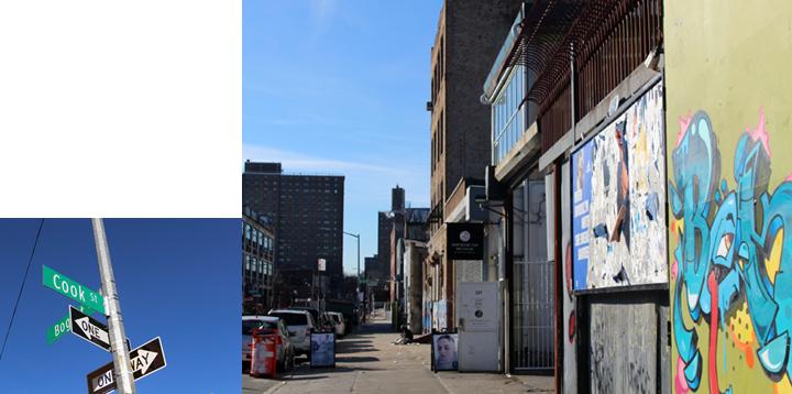 画像: モーガンエリアの標識(左)。「STEP BONE CUT Brooklyn」の外観(右)