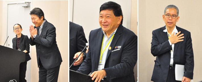 画像: (左)「サワディー クラップ (こんにちは)!」とタイ語のあいさつからはじめた ユニアデックスDXビジネスの責任者 中村 。「DXを実現するための新たなビジネスを提供し、お客さまに貢献している。今回の産学交流を今後のビジネスにつなげたい。」と話した。(中央) Reserch University Network(RUN)の代表であるチュラロンコン大学のTechakumphu教授 。「大学と企業の連携を強化するためユニアデックスを訪問した。タイも日本と同様に高齢化社会であるため、農業の生産性向上を支援する『スマート農業』戦略を進めている。特に『養豚分野の取り組み』について情報交換したい」と挨拶。(右)今回のコーディネーターの ネットマークス タイのウィセ社長