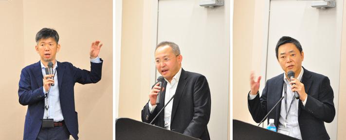 画像: (左) ユニアデックスIoTビジネスの責任者 山平 。会社紹介、製造系IoTの世界とアジアにおける経済政策動向、当社のDX/IoTビジネスのコンセプトと取り組み内容、事例を紹介した。「政府機関に対して、アドバイスや支援、IoT関連の提案をしているのか?」など参加者から質問があがった。(中央) ユニアデックスIoTビジネスの担当者 鈴木 。製造系IoTの取り組みを紹介。(右) ユニアデックスIoTビジネスの担当者 椿 。養豚IoTの取り組みを紹介。