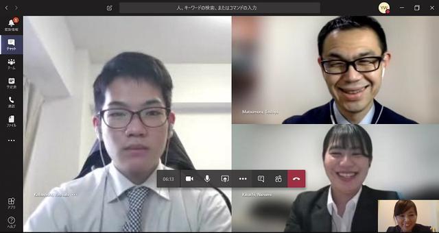 画像: 実際の研修模様。ちゃんとスーツを着て、受講しています。右上は、研修監督者の松村