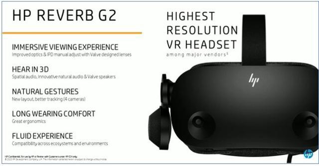 画像: HP社のREVERB G2は、 MRとして利用を想定しているため、ヘッドセットの全面にはカメラが付きます。このカメラでリアルと融合します。