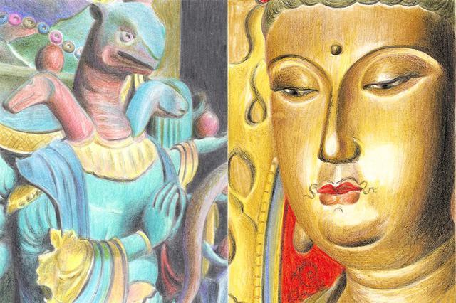 画像: みうらさんが色鉛筆で描いた「ニュー仏画」の一部。左から、天川弁才天像(正圓寺/大阪府)、楊貴妃観音像(泉湧寺/京都府)