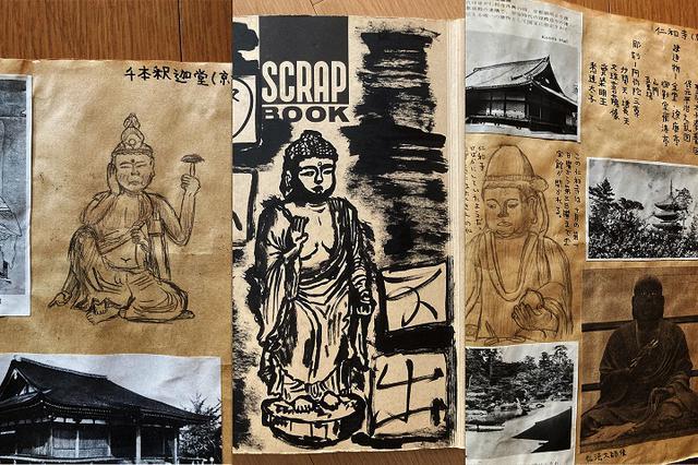 画像: 「仏像スクラップ」の一部。丁寧な観察を大切にしているみうら少年の夢中度がうかがえる。中学生になってからは、「ジョン・レノンのアルバム『イマジン』になぞらえて自分の部屋に『イマ寺院』と書いた表札まで掛ける始末で」と笑顔で話すみうらさん。イマ寺院には、お寺にまつわる多くのコレクションが所蔵されていたという。