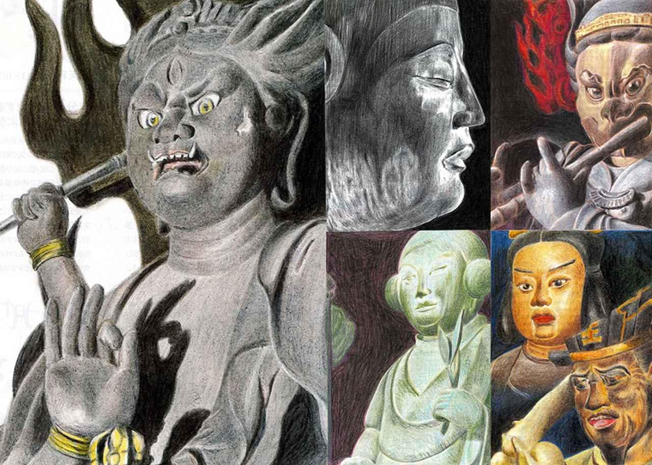 画像: こちらもみうらさんがこれまで描いてきた「ニュー仏画」たち。迫力と共にその丹念な描写が圧巻だ。写真左は、この世の一切の不浄を焼き尽くす烏枢沙摩明王立像(興法寺/大阪府)。写真中央上が、釈迦如来坐像(室生寺/奈良県)。中央下は太郎天像(長安寺/大分)。そして写真右上が迦楼羅像(三十三間堂/京都府)、同右下は難陀龍王立像&雨宝童子立像(長谷寺/奈良県)