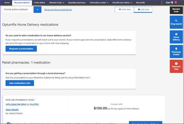 画像: 処方箋の画面