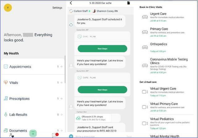 画像: 患者用のアプリ。次回の予約が取れるほか、自分で処方箋の確認が可能。真ん中は、医師とのチャットも診察後のCare Planに提示されます