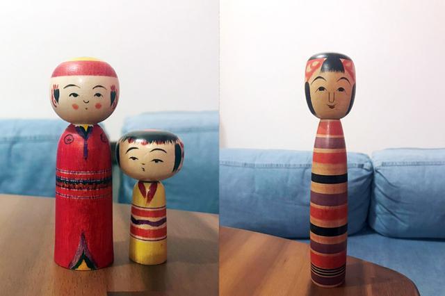 画像: 川村さんの弥次郎こけしたち(写真左)。写真右は、川村さんの一番のお気に入りである「土湯こけし」のしましま子ちゃん。土湯は、宮城県の鳴子、遠刈田と並び、三大こけし発祥の地としても有名