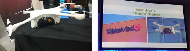 画像: 昨年のCommercialUAV会場。米UPS社の機体と説明スライド