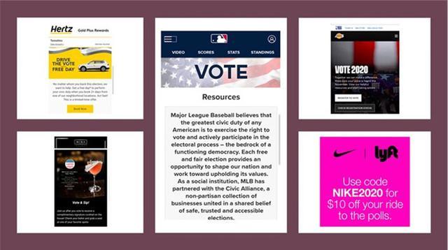 画像: レンタカー会社は、投票に行くのであれば車を無料で提供。NIKEとLyftは、提携してクーポンを発行。レストランでは、当日カクテル無料。MLBやNBAも選挙応援メッセージ発信。と選挙を一層盛り上げています。