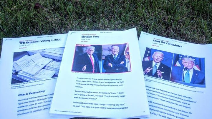 画像: 大統領選挙選に関する小学校3年生の授業での資料