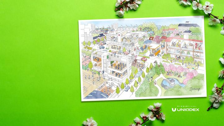画像: 春の壁紙(カレンダーの3月、4月、5月の街の風景が登場します。)