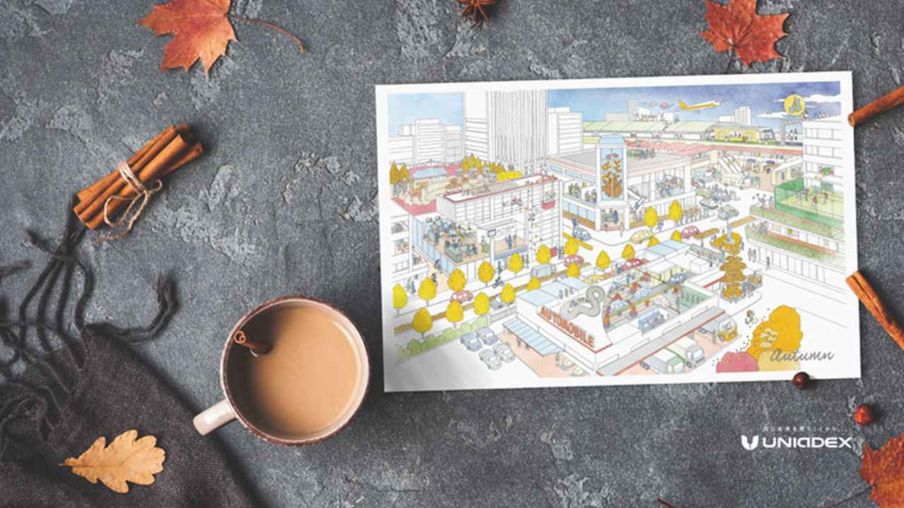 画像: 秋の壁紙(カレンダーの9月、10月、11月の街の風景が登場します。)