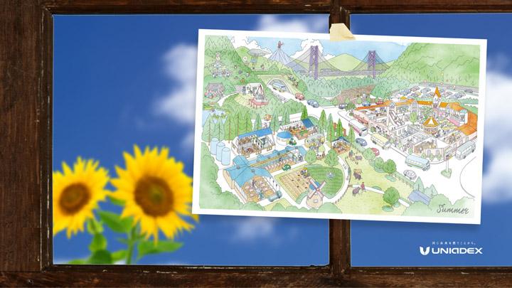 画像: 夏の壁紙(カレンダーの6月、7月、8月の街の風景が登場します。)