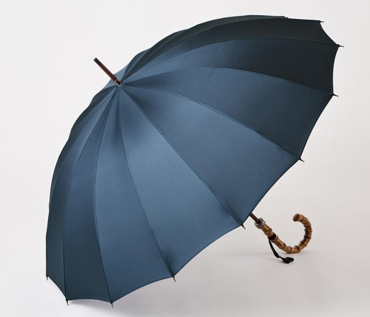 画像: 16本骨傘【紳士】トラッド-16-ブルーグレー 価格:19,800円(税込)~