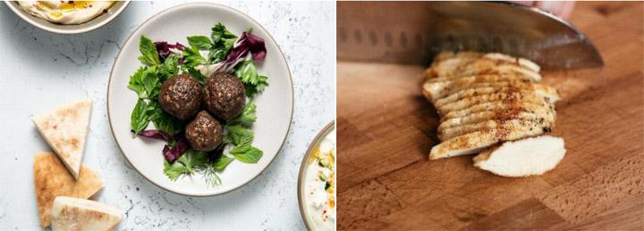 画像: 実際のミートボール(左)とチキン(右)